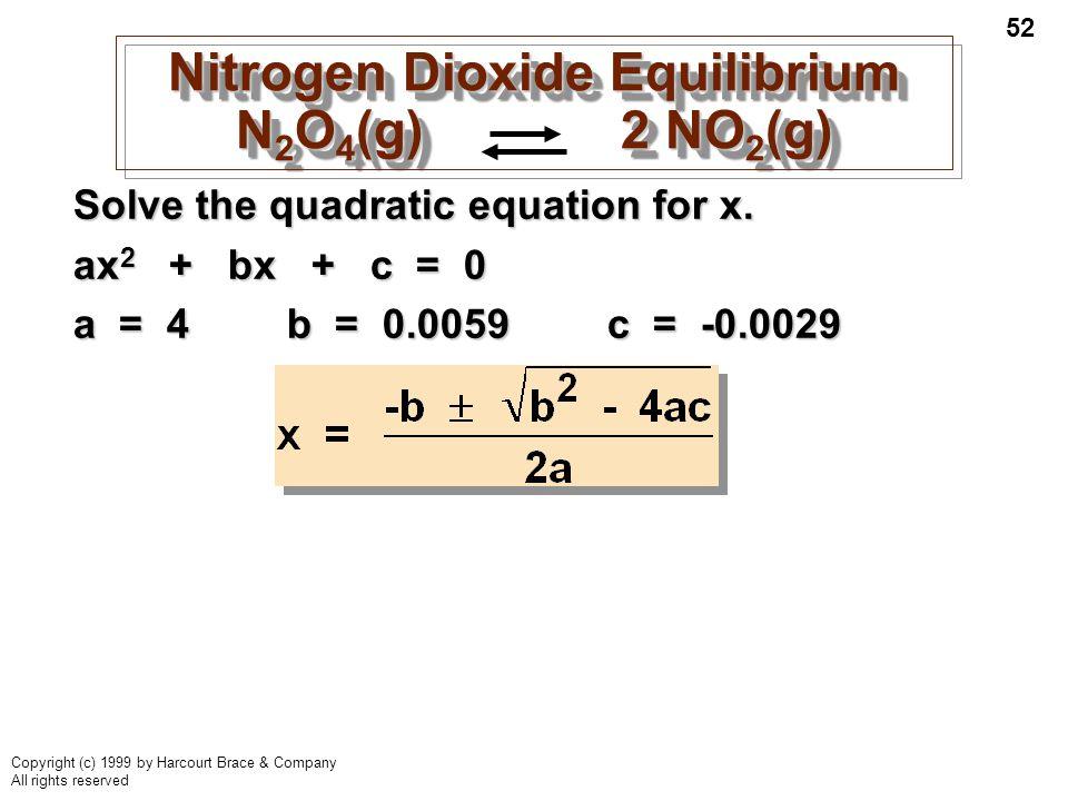 Nitrogen Dioxide Equilibrium N2O4(g) 2 NO2(g)
