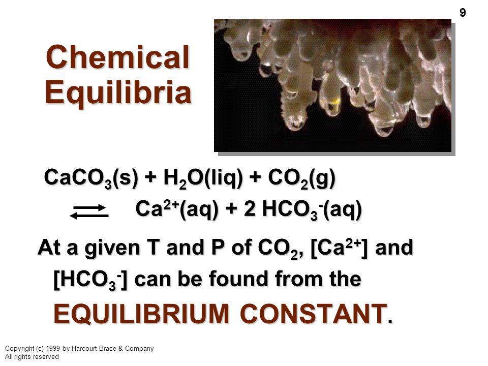 Chemical Equilibria CaCO3(s) + H2O(liq) + CO2(g) Ca2+(aq) + 2 HCO3-(aq)