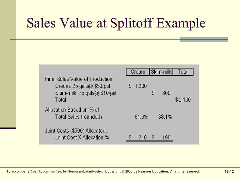 Sales Value at Splitoff Example