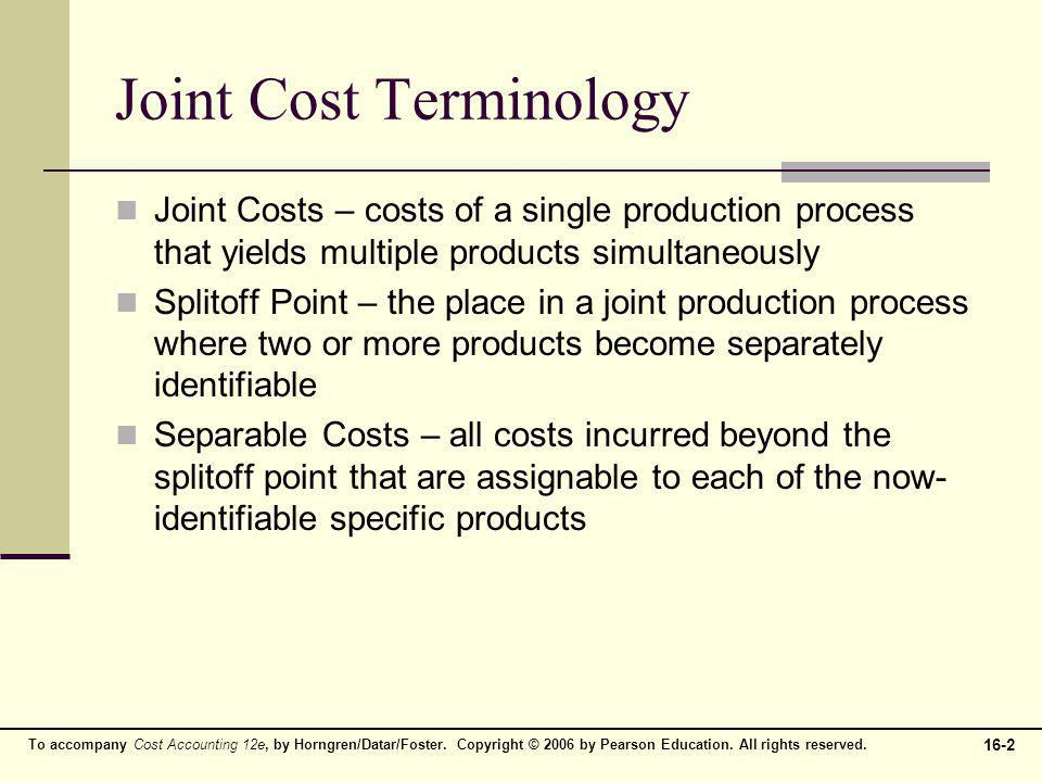 Joint Cost Terminology