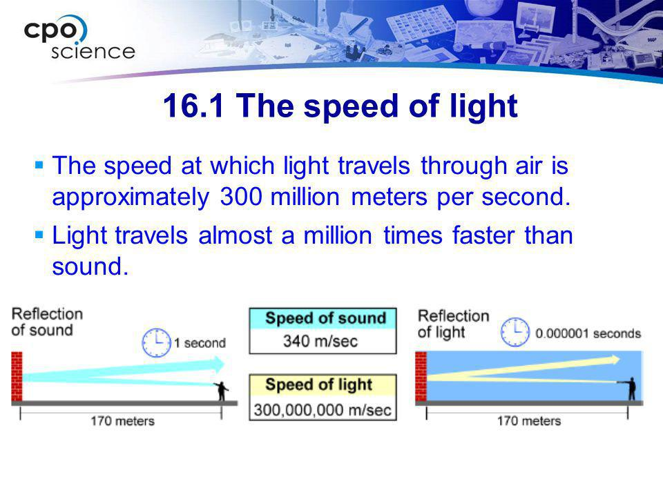 16.1 The speed of light The speed at which light travels through air is approximately 300 million meters per second.