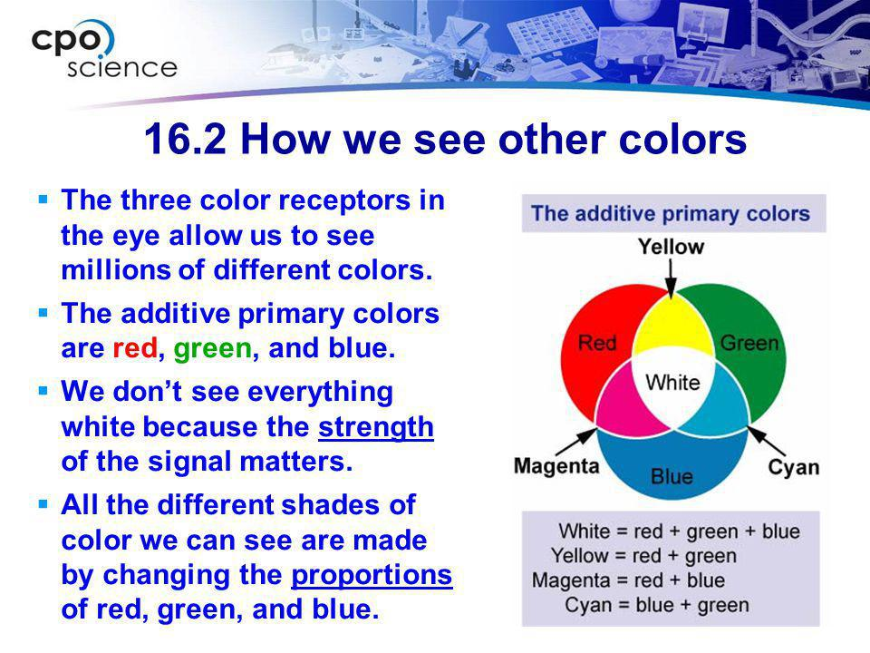 16.2 How we see other colors The three color receptors in the eye allow us to see millions of different colors.