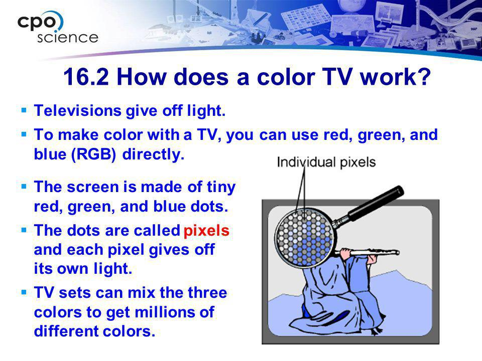 16.2 How does a color TV work Televisions give off light.