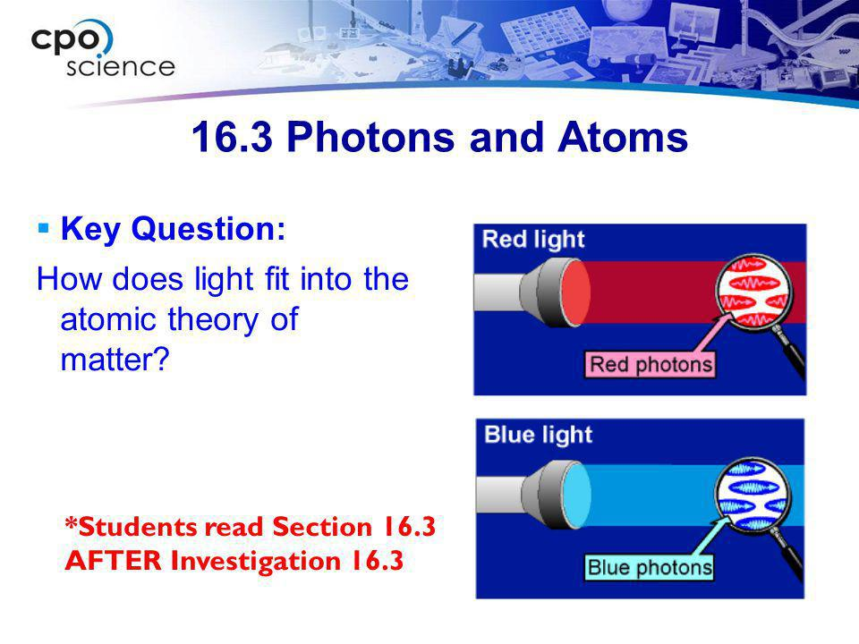 16.3 Photons and Atoms Key Question: