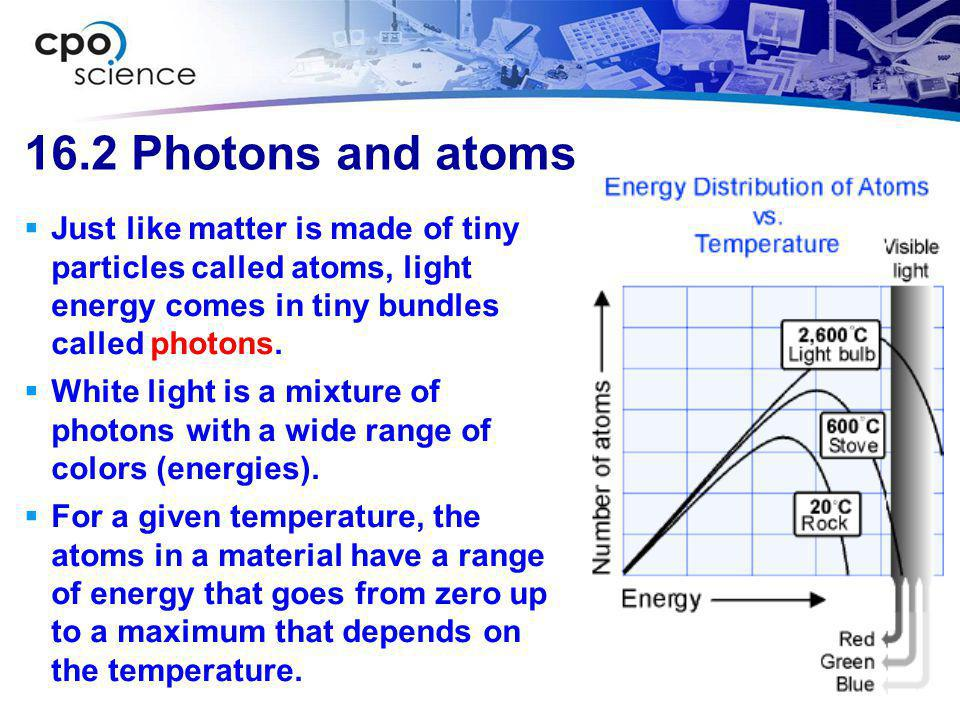 16.2 Photons and atoms Just like matter is made of tiny particles called atoms, light energy comes in tiny bundles called photons.
