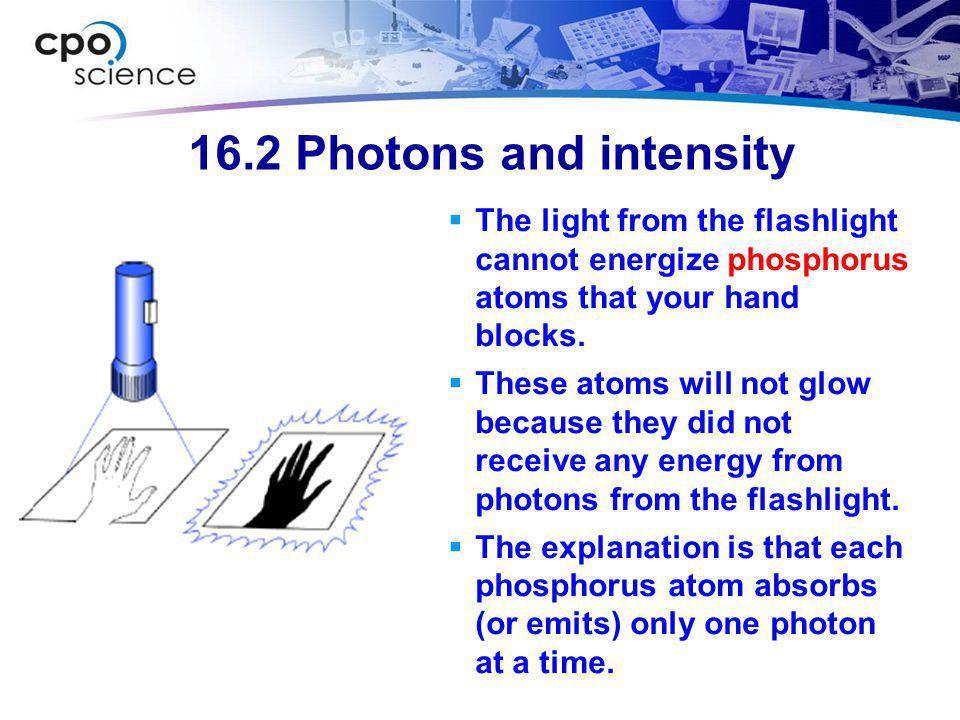 16.2 Photons and intensity The light from the flashlight cannot energize phosphorus atoms that your hand blocks.