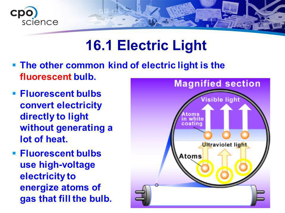 16.1 Electric Light The other common kind of electric light is the fluorescent bulb.