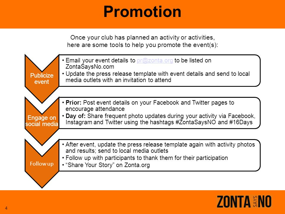 Promotion Once your club has planned an activity or activities,