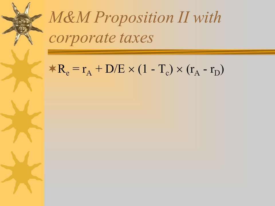 M&M Proposition II with corporate taxes