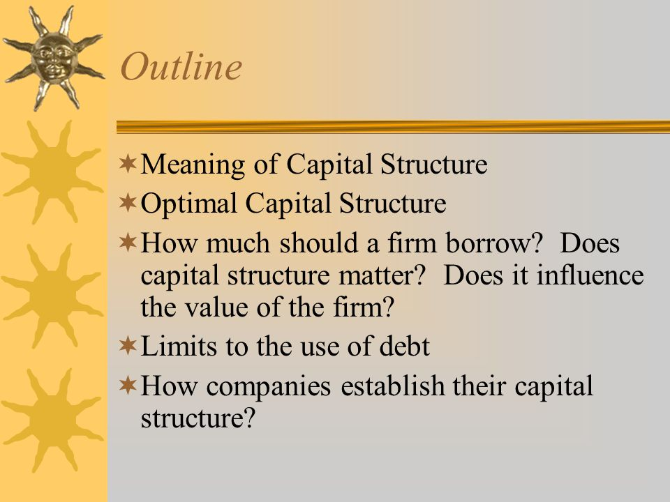 Outline Meaning of Capital Structure Optimal Capital Structure