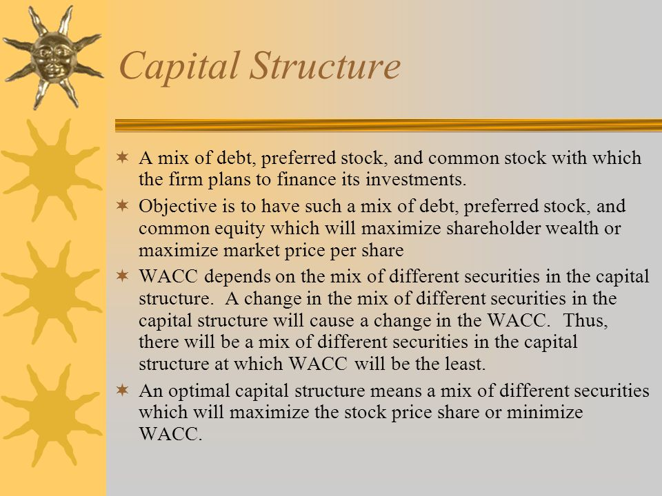 Capital Structure A mix of debt, preferred stock, and common stock with which the firm plans to finance its investments.