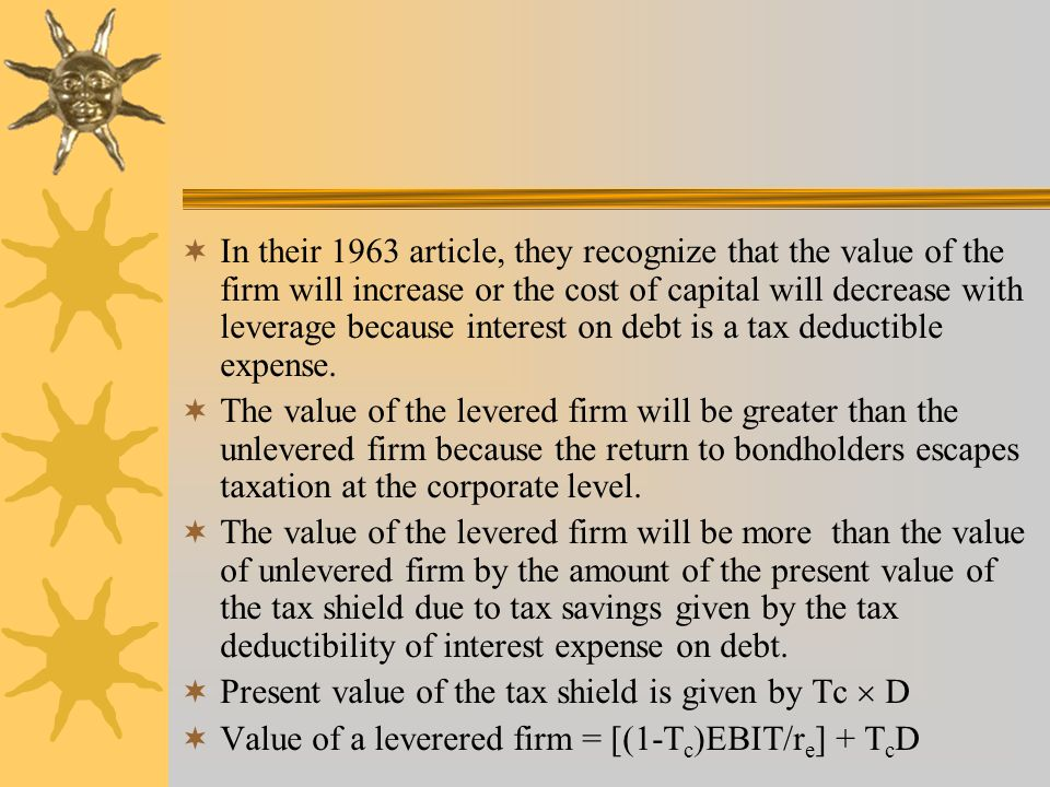 In their 1963 article, they recognize that the value of the firm will increase or the cost of capital will decrease with leverage because interest on debt is a tax deductible expense.