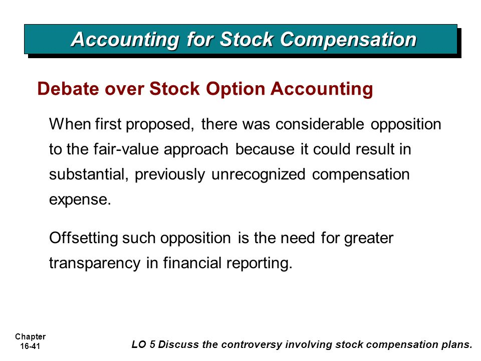 Accounting for stock options gaap