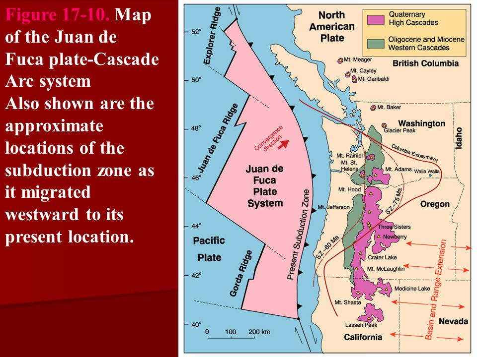 Figure 17-10. Map of the Juan de Fuca plate-Cascade Arc system
