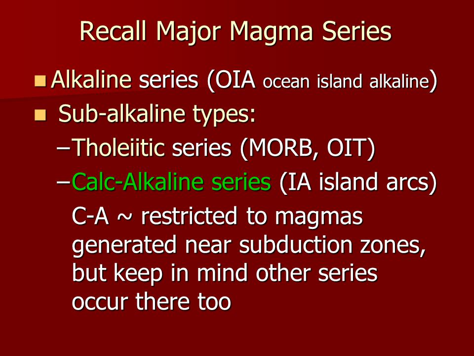 Recall Major Magma Series