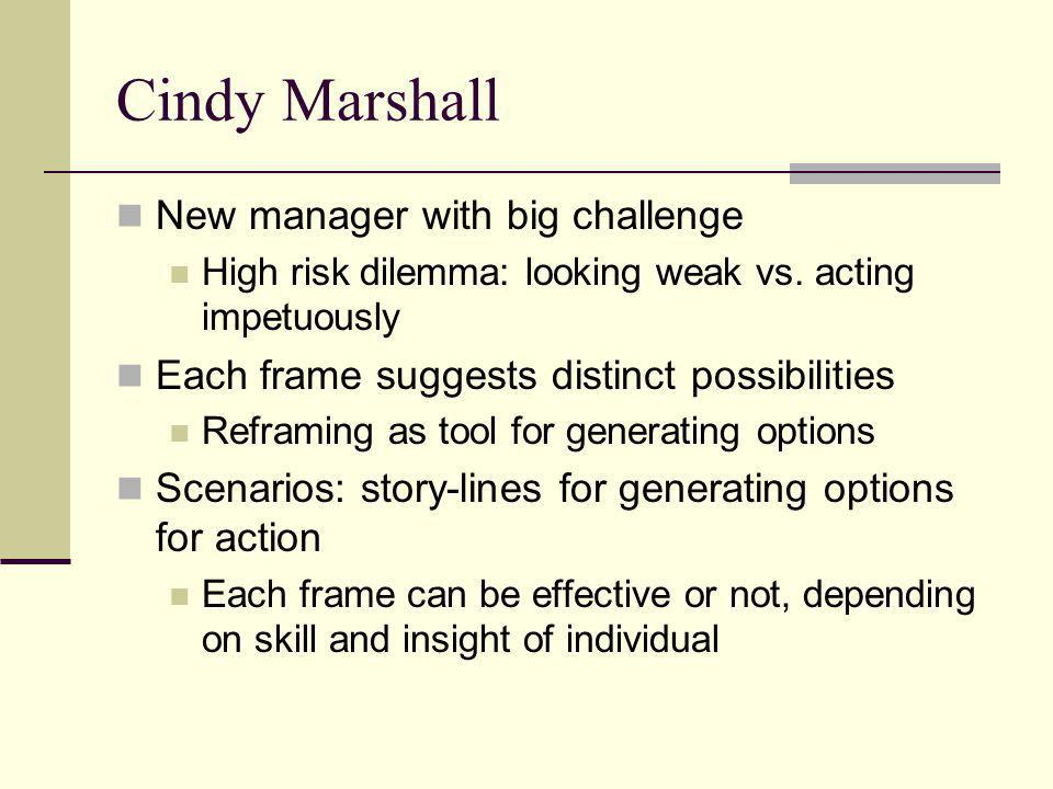 Cindy Marshall New manager with big challenge