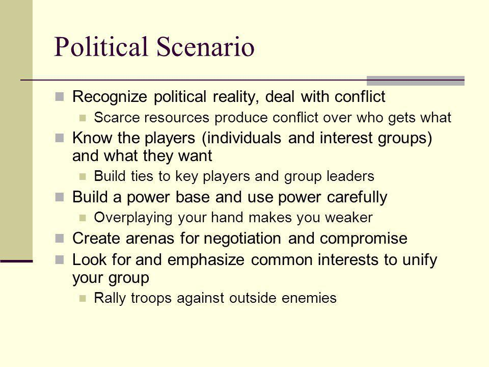 Political Scenario Recognize political reality, deal with conflict