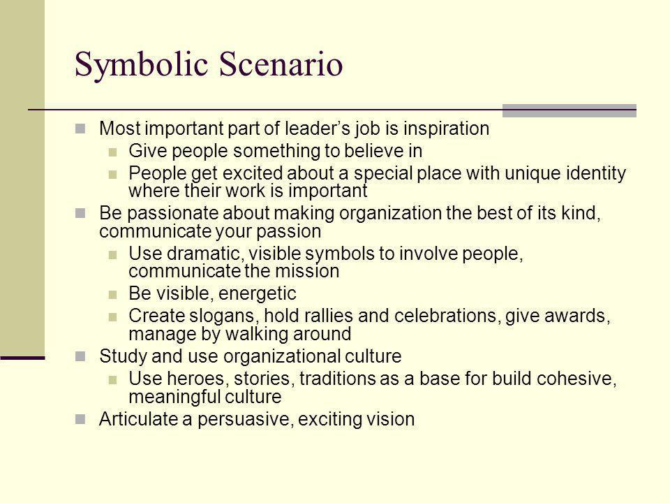 Symbolic Scenario Most important part of leader's job is inspiration
