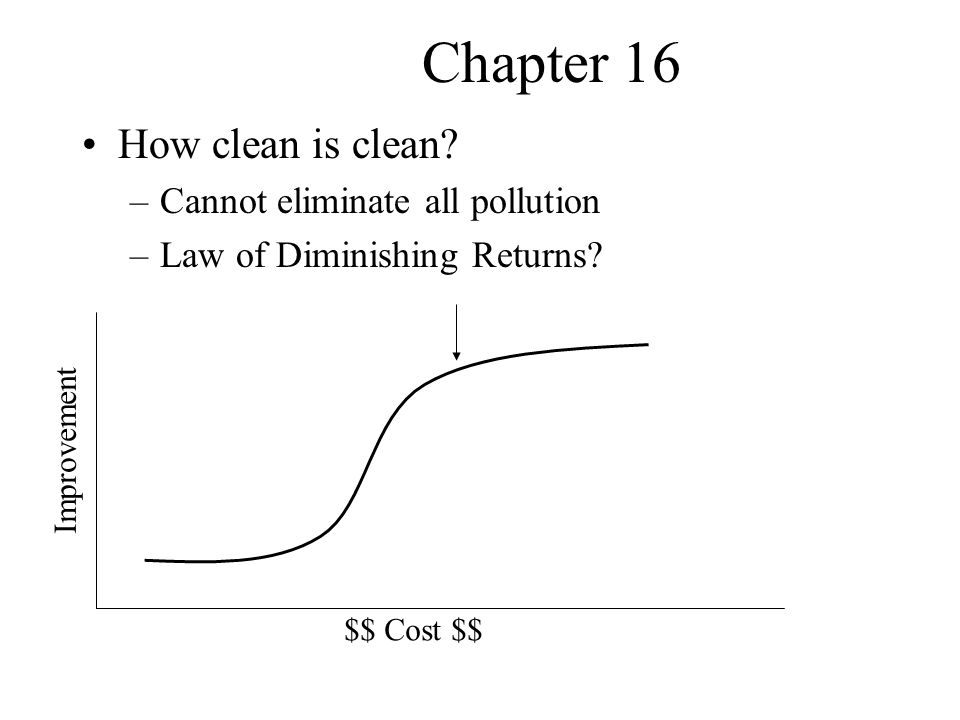 Chapter 16 How clean is clean Cannot eliminate all pollution