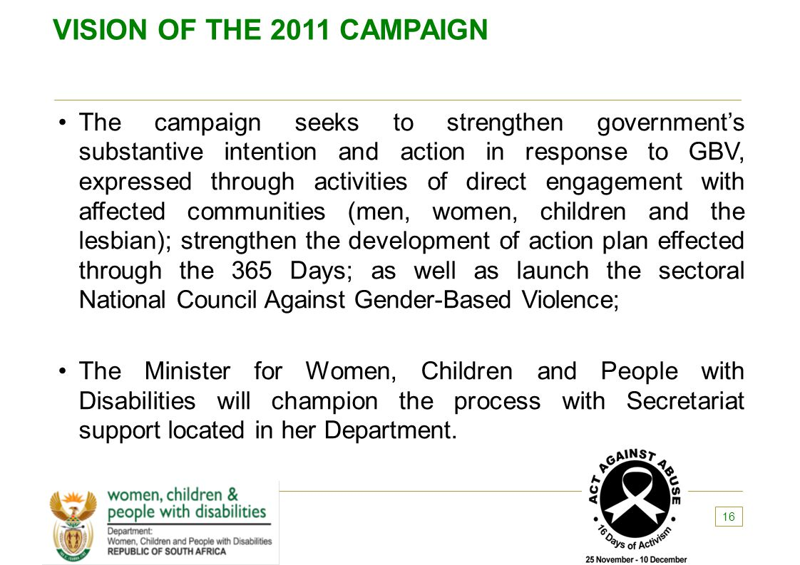 VISION OF THE 2011 CAMPAIGN