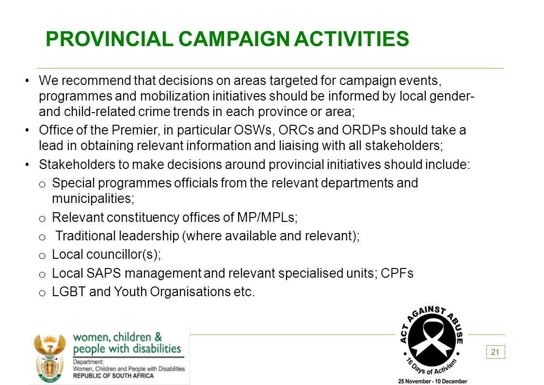 PROVINCIAL CAMPAIGN ACTIVITIES
