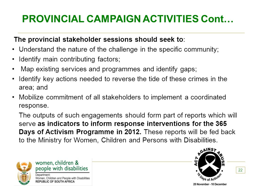 PROVINCIAL CAMPAIGN ACTIVITIES Cont…