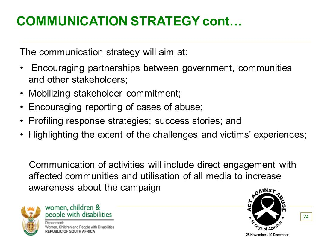 COMMUNICATION STRATEGY cont…