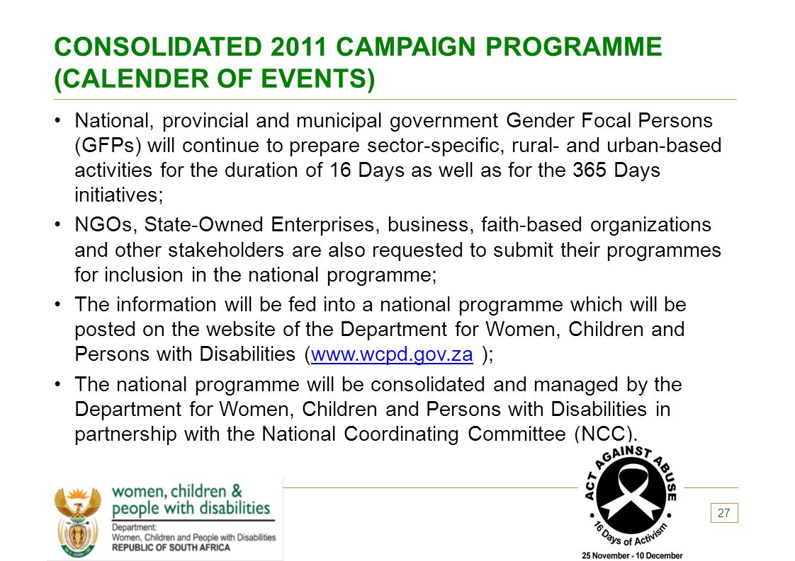 CONSOLIDATED 2011 CAMPAIGN PROGRAMME (CALENDER OF EVENTS)