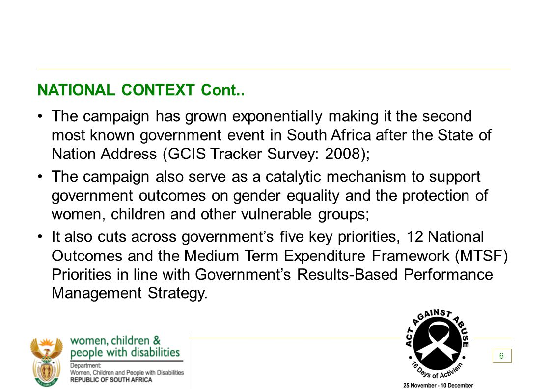 NATIONAL CONTEXT Cont..
