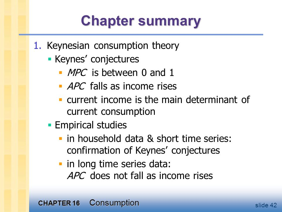 Chapter summary 2. Fisher's theory of intertemporal choice