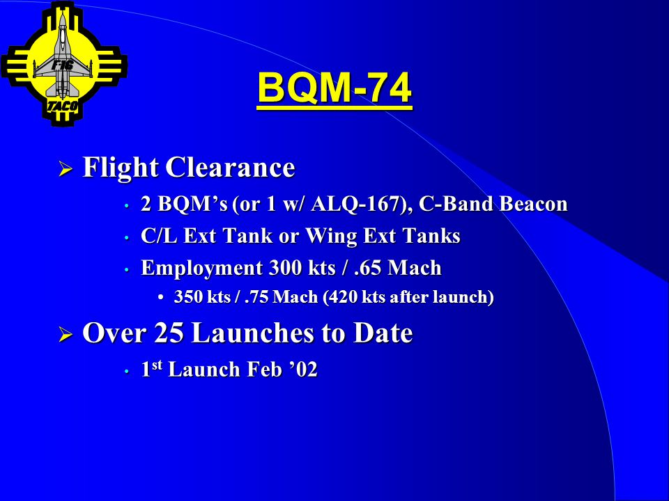 BQM-74 Flight Clearance Over 25 Launches to Date