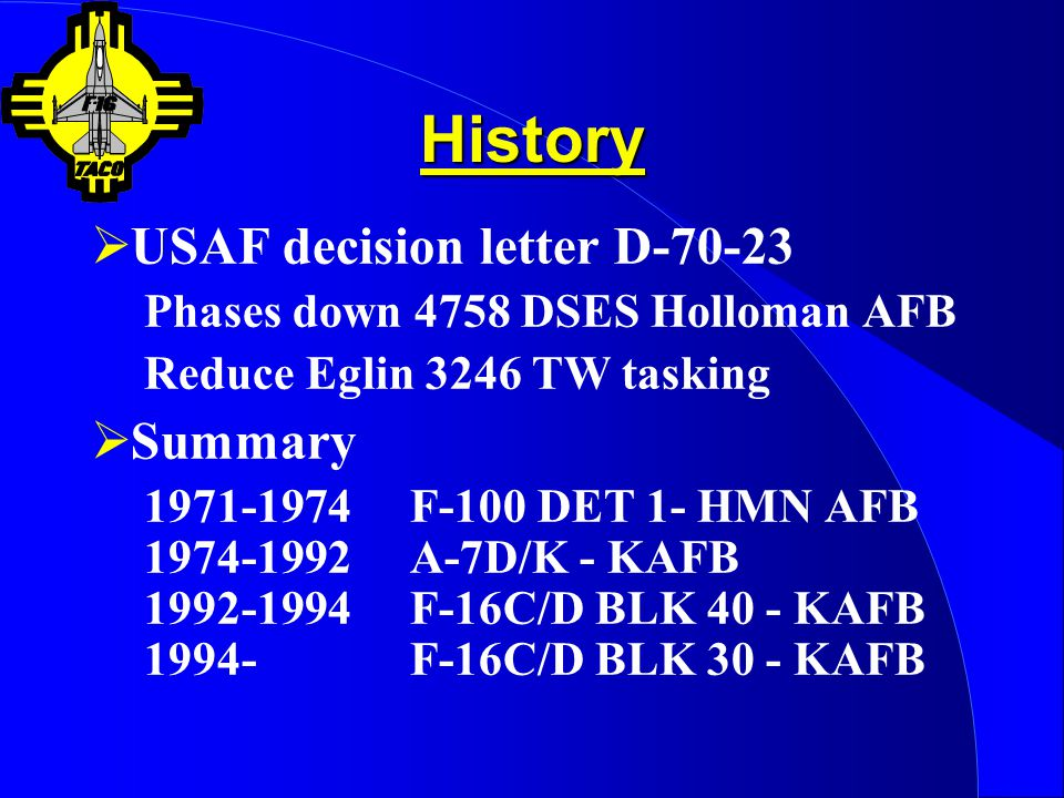 History USAF decision letter D-70-23 Summary