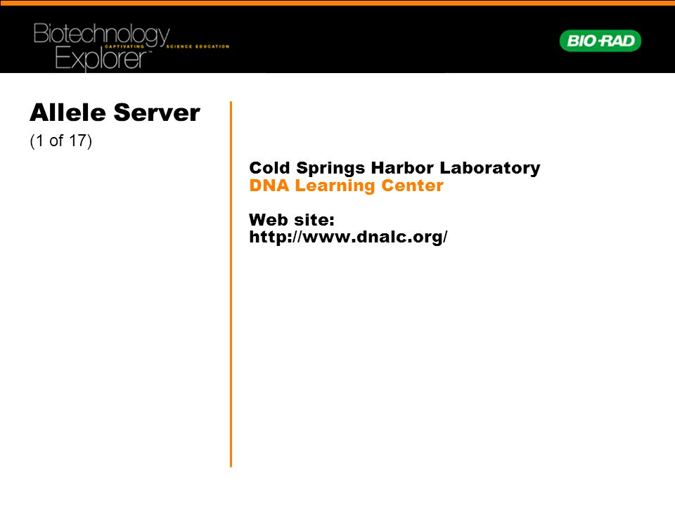 Allele Server (1 of 17) Cold Springs Harbor Laboratory