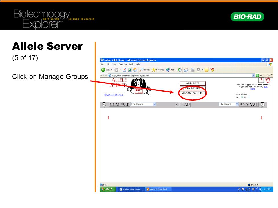 Allele Server (5 of 17) Click on Manage Groups