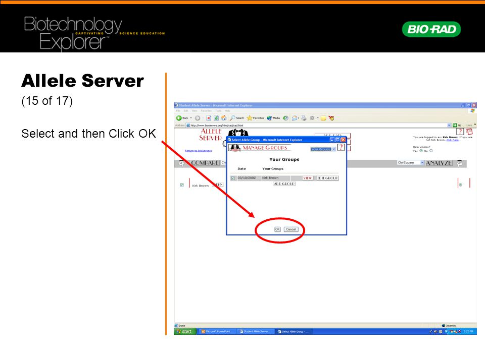 Allele Server (15 of 17) Select and then Click OK