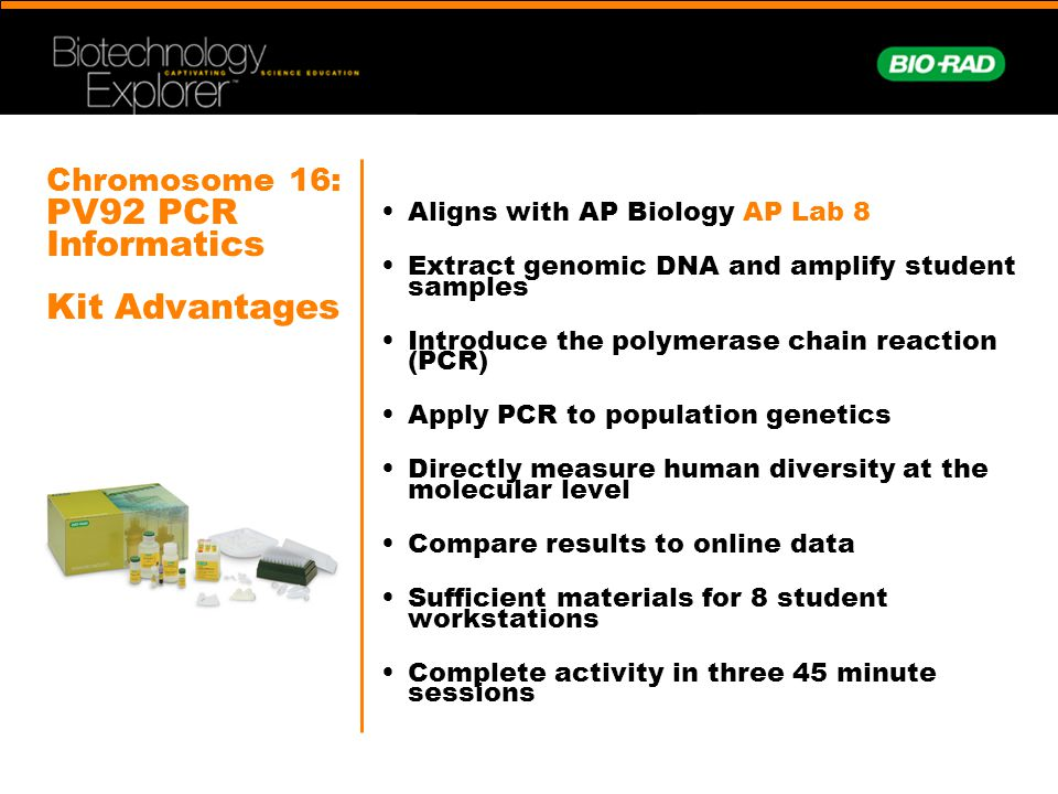 Chromosome 16: PV92 PCR Informatics Kit Advantages