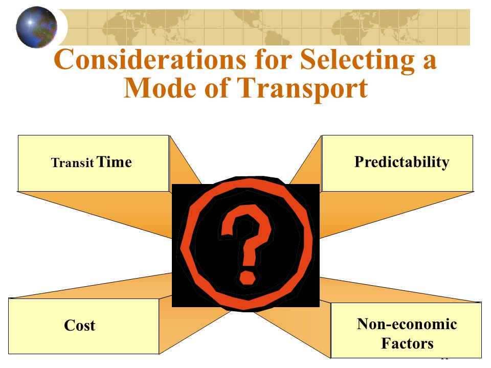 Considerations for Selecting a Mode of Transport