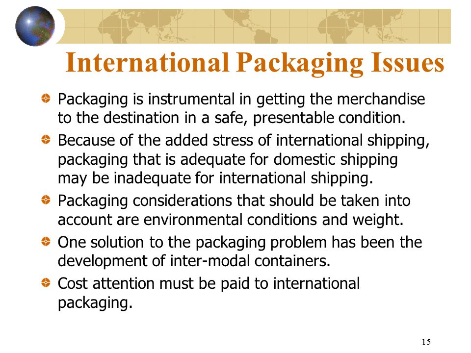 International Packaging Issues