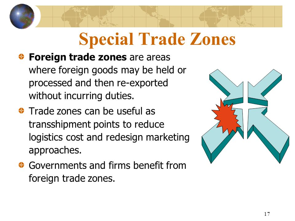 Special Trade Zones Foreign trade zones are areas where foreign goods may be held or processed and then re-exported without incurring duties.