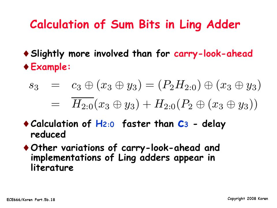 Calculation of Sum Bits in Ling Adder