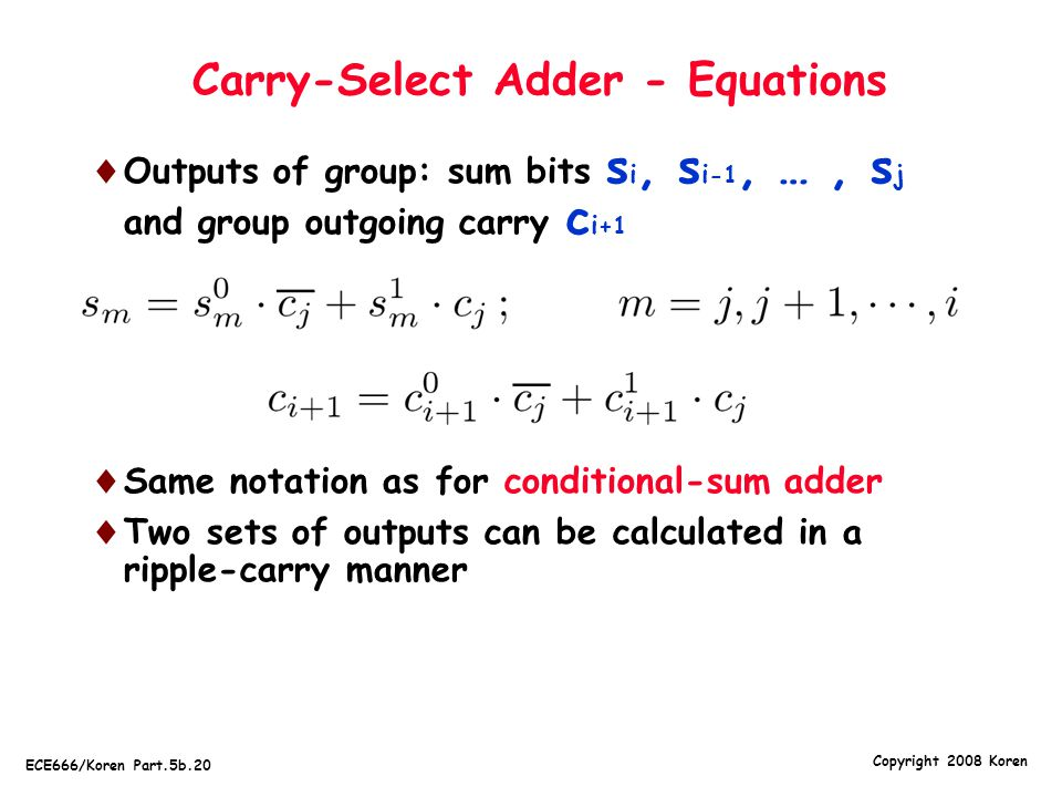 Carry-Select Adder - Equations