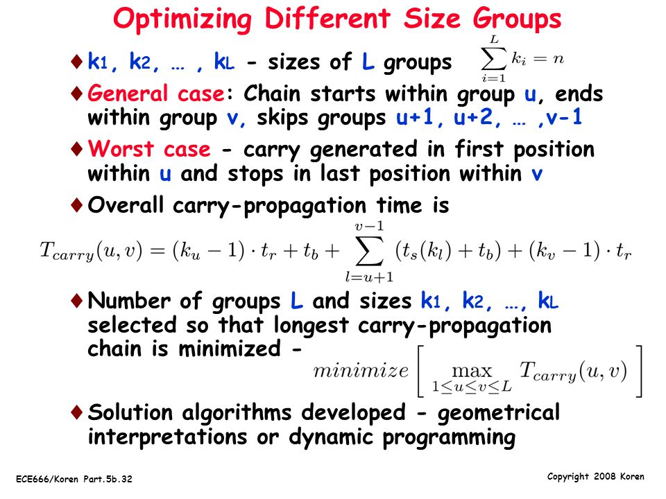 Optimizing Different Size Groups