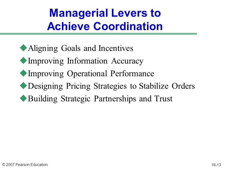 Managerial Levers to Achieve Coordination