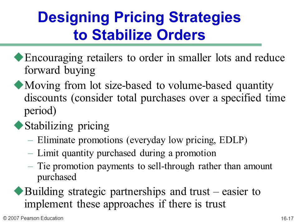 Designing Pricing Strategies to Stabilize Orders