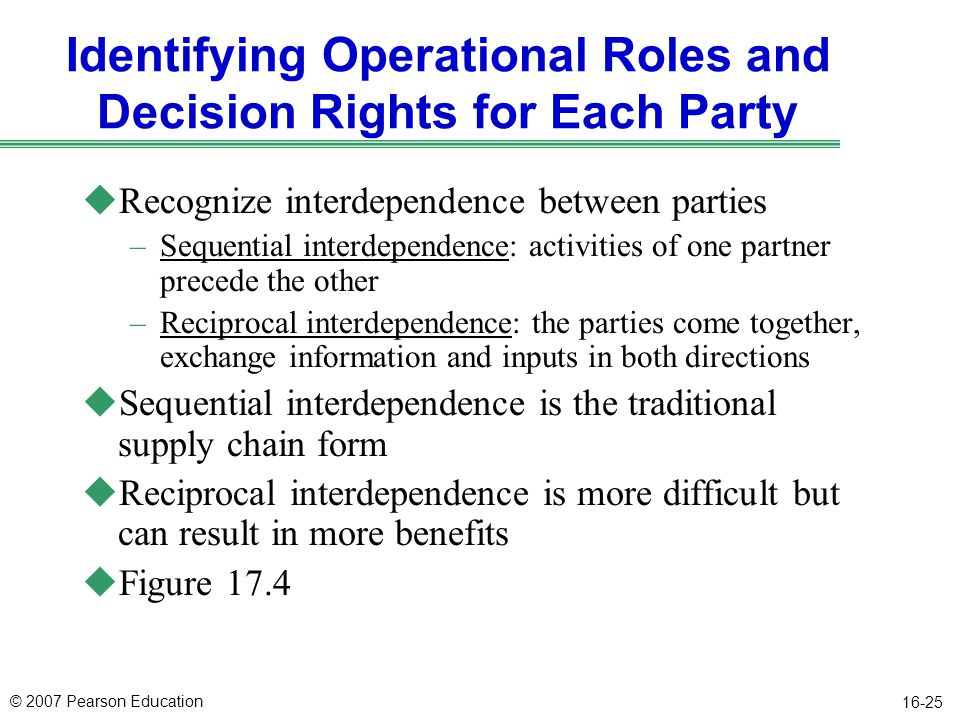 Identifying Operational Roles and Decision Rights for Each Party
