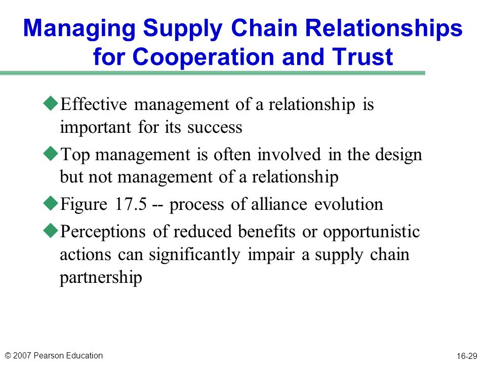 Managing Supply Chain Relationships for Cooperation and Trust