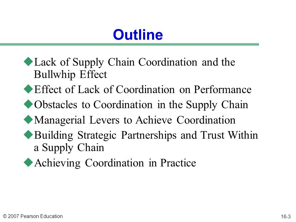 Outline Lack of Supply Chain Coordination and the Bullwhip Effect
