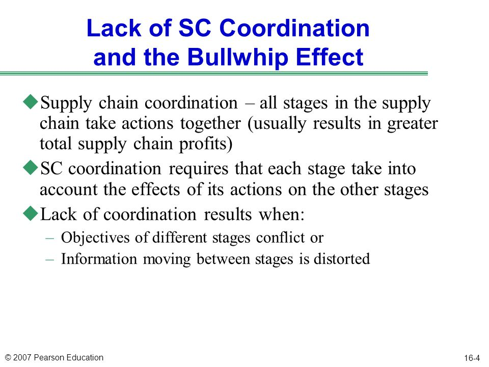 Lack of SC Coordination and the Bullwhip Effect