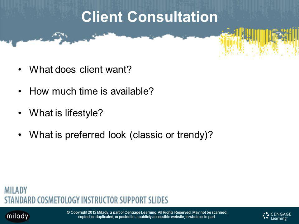 Client Consultation What does client want How much time is available