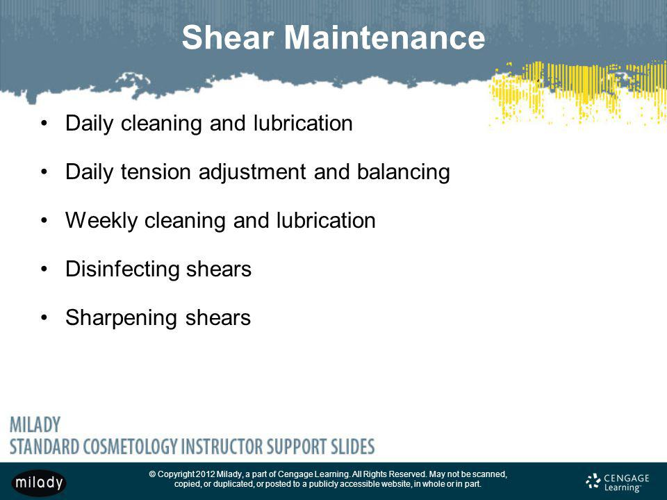 Shear Maintenance Daily cleaning and lubrication